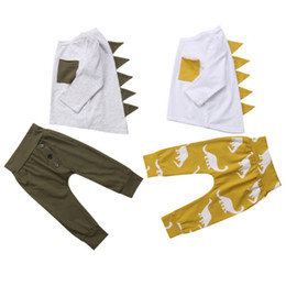 Double Leggings Australia - Brand New 2Pcs Kids Baby Boys 3D Dinosaur Outfits Long Sleeves T-shirt Tops+Leggings Pants Set Toddler Autumn Clothes
