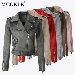 pink motorcycle jackets Australia - Women's Faux PU Leather Suede Short Jacket Multy Zipper Motorcycle Coat Womens 2019 Spring Fashion Biker Jackets Dropshipping SH190903