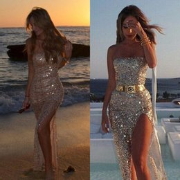 Vintage Beach Art NZ - Sparkly Yousef Aljasmi Silver Prom Dresses 2019 High Side Split Sequined Sexy Sheath Evening Dress Summer Bohemian Beach Holiday Party Gowns