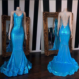 $enCountryForm.capitalKeyWord Australia - 2019 Real Sampel Long Mermaid Prom Dress Sexy Backless Lace Up Back V-neck African Black Girl Blue Sequin Graduation Dresses