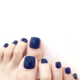 french nails toes Australia - Dark blue pure color false nails for toe 24pcs french summer cute toe nails short size lady full nail tips for Nail art