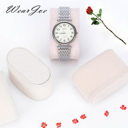 velvet pillow displays wholesale NZ - A Pair Beige Velvet Watch Display Packing Pillow For Watch Storage Packaging Bag Cushion Bracelet Padded Interior