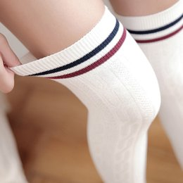 japan style socks NZ - 2018 Japan Cute Style Stocking Women Medias Long Over Knee High Socks Warm For Girls Cotton Overknee Striped Stockings