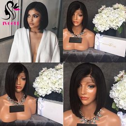 peruvian straight short wig NZ - Short Bob Cut Lace Wig Silky Straight Human Hair Lace Front Wig Peruvian Human Hair Glueless Silk Top Full Lace Wigs Natural Scalp