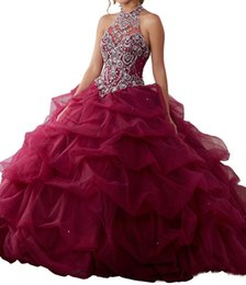 $enCountryForm.capitalKeyWord UK - 2019 Quinceanera Dresses Halter Neck Heavy Beads Designer Prom Party Gowns Formal Party Wears Custom Plus Size