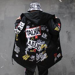 $enCountryForm.capitalKeyWord Australia - Autumn Graffiti Jacket Long Coat China Have Hip Hop Star Swag Tyga Outerwear Coats Us Size Xs-xl