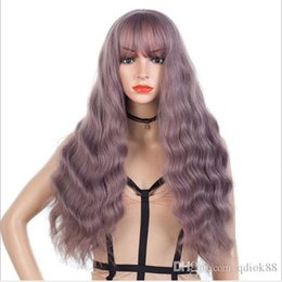 32 inch wigs NZ - Hot selling factory customized light purple color Long corn perm 32 inch body wave natural straight long wigs forwomen