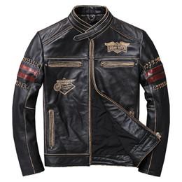 Vintage Motorcycles Jacket Australia - 2019 Vintage Black Men Slim Fit Motorcycle Leather Jacket Plus Size XXXL Genuine Cowhide Spring Natural Biker Coat FREE SHIPPING
