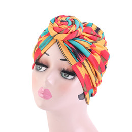 quality beach wraps NZ - 8 Colors Top Quality women Stretchy Knot Turban Head Wrap Chemo Bandana Hijab Flower Printed Indian Cap Donuts Hedging Cap
