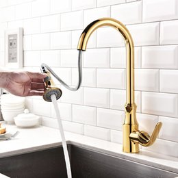 Brass Handles Pulls Australia - Kitchen Faucet Pull out Cold And Hot Water Mixer Sink Faucet Deck Mounted Single Handle Brass Kitchen Tap Gold Chrome Brushed