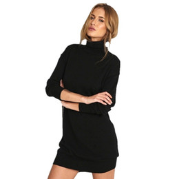 17a81228e5d 2017 Winter Autumn Warm Stretch Dresses Vestidos Women Long Sleeve Knit  BodyCon Slim Party Sweater Dress Black MG95  394730