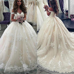 $enCountryForm.capitalKeyWord Australia - 2020 New Cheap Puffy Ball Gown Wedding Dresses Cap Sleeves Lace Tulle Appliques Off Shoulder Sweep Train Plus Size Formal Bridal Gowns
