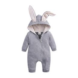 Children Winter Tutus UK - 2019 kids clothes new Infant child big ear rabbit one-piece hooded zipper romper