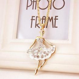 $enCountryForm.capitalKeyWord NZ - Ballet Girl Sweater Chain - Ballerina Alloy Rhinestone Pendant Necklace Gold Chains Luxury Designer Jewelry Girlfriend Gift