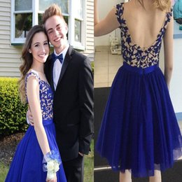 $enCountryForm.capitalKeyWord Australia - New Arrival Homecoming Dresses Royal Blue Open Back Elegant Prom Dresses Lace Applique Short Formal Cocktail Party Gowns A25