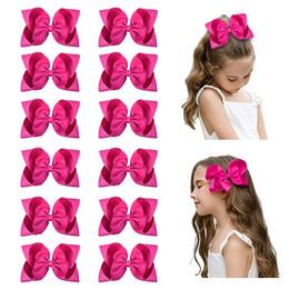 "$enCountryForm.capitalKeyWord Australia - 10 PCS 6"" Big Hand-made Grosgrain Ribbon Hair Bow Alligator Clips Hair Accessories for Little Teen Toddler Girls"
