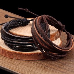 Wholesale KYSZDL Hot sell hand woven Fashion Jewelry Wrap multilayer Leather Braided Rope Wristband men bracelets bangles for women