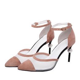 $enCountryForm.capitalKeyWord Australia - Hot selling fashion pearl heel sandals lock ornament sexy high heels women buckle strap gladiator sandals black stripe shoes
