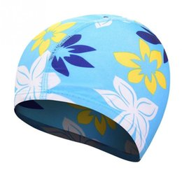 swim hats for long hair 2019 - Waterproof Flexible Stretch Swimming Cap Long Hair Protection Swim Caps Hat Cover For Adult Children Kids cheap swim hat