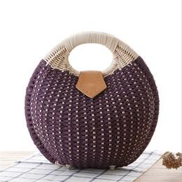 $enCountryForm.capitalKeyWord UK - Designer-Wulekue Bohemian Summer Beach Bags Knitting Tote Handbag Woman Circle Round Handmade Woven Straw Rattan Bag