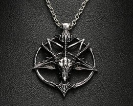 $enCountryForm.capitalKeyWord Australia - 1Pcs Fashion Pentagram Pan God Skull Goat Head Pendant Necklace Luck Satanism Occult Metal Vintage Silver Star Necklace for Man