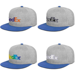 $enCountryForm.capitalKeyWord Australia - FedEx Federal Express Corporation logo blue mens and womens snap back,flat brimcap baseball styles fitted customize running hats gray 3D