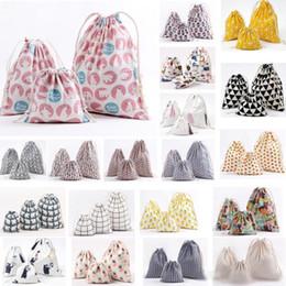 $enCountryForm.capitalKeyWord Australia - new3pcs Set Jewelry Canvas Drawstring Pouch Bundle Gift Wrap Bags Candy Tea Packaging Bag Sack Xmas Decorations For Stripe Pineapple