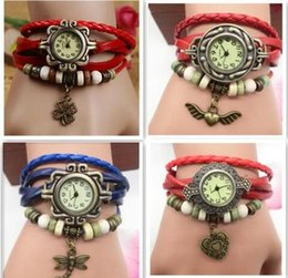 Wholesale Weave Rope Leather Wrist Watch charm Bracelet Retro Vintage mix leaf butterfly owl wing heart Pendant Weave Wrap Quartz Women watch