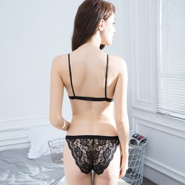bra design strap NZ - Brand New 4 Colors Women Sexy See Through Small Cup Back Closure Wire Free Design Unlined Brief Bra Sets Types Underwear Corsets Set ne1
