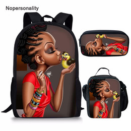 unique backpacks NZ - Twoheartsgirl Middle School Student School Backpacks Black Afro Girls Bag Unique Children Kids Bagpack Set 3 piece