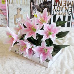 Fake Lilies Flowers Australia - 1pcs 10 Heads Multicolor Artificial Lily Flower Bouquet Fake Flowers Bridal Flower Wedding Wreath Decoration P20