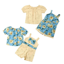 kids short overalls girls NZ - Kids Baby Girl Sunflower Clothes Short Sleeve T-shirt Tops Suspender Short Overalls 2PCS Princess Girls Clothing Set