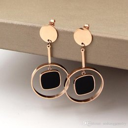 $enCountryForm.capitalKeyWord Australia - E14 new fashion round black cake style beautiful all-match rose gold earrings gold plate for lady gift free shipping