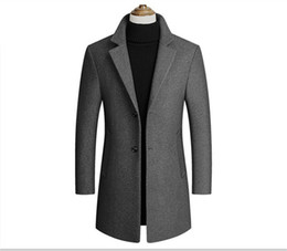 Wholesale Fashion Solid Lapel Neck Outwear Mens Long Sleeve Trench Coats Spring Autumn Mens Outwear with Single Breasted
