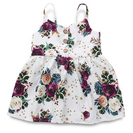 vintage baby girl clothes wholesale NZ - DRESS girls clothing pink floral girls beach dress cute baby summer backless halter dress kids vintage flower dresses BY1109