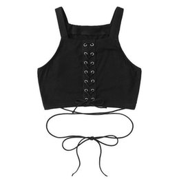 b973fe537bb6 Best sale Women tank top Solid Cross Strap Sleeveless Tops front Bandage hot  girl Vest Cropped Feminino Chalecos Mujer