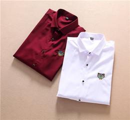 $enCountryForm.capitalKeyWord NZ - New 2019 Brand Tiger head design Long Sleeve Men's Casual Shirts KEN116 france style Fashion Lapel dress tees Embroidery snakes T-Shirt