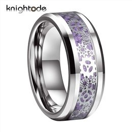 wheel sets china UK - 8 6mm Men Women Wedding Band Mechanical Gear Wheel Tungsten Ring Beveled Edges With Red Purple Black Blue Carbon Fiber Inlay