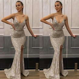 Navy blue bridesmaid v Neck online shopping - 2019 Deep V Neck Mermaid Silver Prom Dresses Sequined Front Side Split Spaghetti Evening Party Dress Cheap Bridesmaid Gowns BC1552