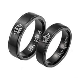 king queen gifts UK - 2019 New Fashion DIY Couple Jewelry couple rings Blue plated color Titanium steel HIS QUEEN and HER KING couple rings for lovers