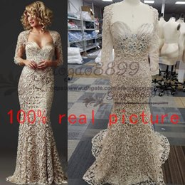 $enCountryForm.capitalKeyWord Australia - 2020 real picture Custom Made Vintage Full Lace Mermaid Mother of the Bride Dresses Long Sleeve Formal Champagne Evening Gowns Club Dress