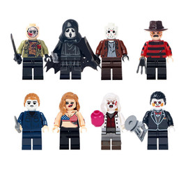 Model Figure Cartoon Girl Australia - 8pcs set Cartoon Horror Girls Boy Building Blocks Bricks Figures Models Toys Children Educational Gift Toys
