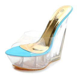$enCountryForm.capitalKeyWord Australia - Ltarta Summer Thick-soled High-heeled Sandals Slippers Transparent Crystal Shoes Waterproof Platform 15cm Wedge Shoes Lfd-126 Y19070503