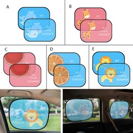 anti sun car 2020 - 2Pcs Cute Cartoon Car Styling Curtain Anti Universal Car Window Baby Sun Shades discount anti sun car