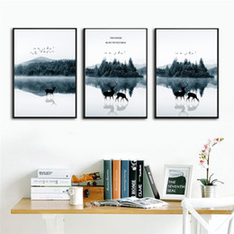 Art Canvas Prints Australia - Nordic Forest Poster Wall Art Prints elk Canvas Painting Nordic Poster Picture Wall Painting For Living Room No Frame