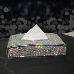 Wholesale Rhinestone Car Tissue Box Bling Diamond Crystal Auto Tissue Holder Car Styling Diamante Block-type Paper Cover for Women