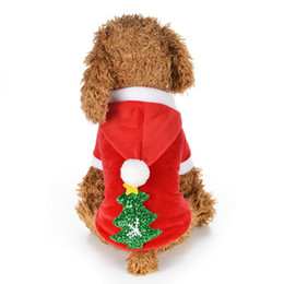 Red Velvet Clothing Canada - Autumn and Winter Red Pet clothes pet dog coats Snowflake Christmas tree Dog clothing Velvet T Shirts holiday