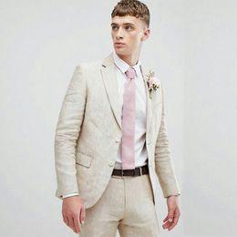 Ivory Linen Suit Australia - Smmer Beige Linen Men Suits Beach Wedding Prom Suits Blazers Jacket Groom Tuxedos 2Piece Coat+Pants Groomsmen Suits Slim Fit Terno Masculino