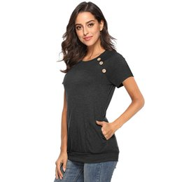 women pocket t shirts wholesale Canada - Solid Color Pocket Shirt Tops Button Designer T Shirts Summer New Fashion Women Clothes Drop Ship 220091