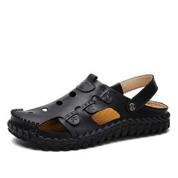 $enCountryForm.capitalKeyWord Australia - Hot Sale-Man Non-Slip Flats Leather Sandals Male Summer Beach Cut Out Mesh Sneakers Mens Breathable Handmade Casual Sandals AA51621